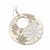 Milky-White Enamel Floral Round Drop Earrings In Silver Finish - 7.5cm Length - view 3
