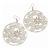 Silver Plated Light Cream/White Enamel Floral Hoop Earrings - 7.5cm Length