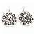 Silver Plated Black Enamel Floral Hoop Earrings - 7.5cm Length - view 4