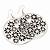 Silver Plated Black Enamel Floral Hoop Earrings - 7.5cm Length - view 2