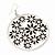 Silver Plated Black Enamel Floral Hoop Earrings - 7.5cm Length - view 3