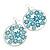 Silver Plated Teal Coloured Enamel Floral Hoop Earrings - 7.5cm Length