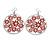 Silver Plated Red Enamel Floral Hoop Earrings - 7.5cm Length - view 2