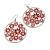 Silver Plated Red Enamel Floral Hoop Earrings - 7.5cm Length