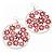 Silver Plated Red Enamel Floral Hoop Earrings - 7.5cm Length - view 4