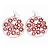 Silver Plated Red Enamel Floral Hoop Earrings - 7.5cm Length - view 5