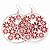 Silver Plated Red Enamel Floral Hoop Earrings - 7.5cm Length - view 6