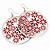 Silver Plated Red Enamel Floral Hoop Earrings - 7.5cm Length - view 7