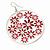 Silver Plated Red Enamel Floral Hoop Earrings - 7.5cm Length - view 3