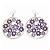 Silver Plated Purple Enamel Floral Hoop Earrings - 7.5cm Length - view 4