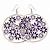 Silver Plated Purple Enamel Floral Hoop Earrings - 7.5cm Length - view 2