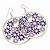 Silver Plated Purple Enamel Floral Hoop Earrings - 7.5cm Length - view 5