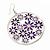 Silver Plated Purple Enamel Floral Hoop Earrings - 7.5cm Length - view 3