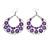 Large Teardrop Purple Enamel Floral Hoop Earrings In Silver Finish - 8cm Length - view 5