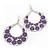 Large Teardrop Purple Enamel Floral Hoop Earrings In Silver Finish - 8cm Length - view 6