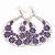 Large Teardrop Purple Enamel Floral Hoop Earrings In Silver Finish - 8cm Length - view 3