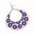 Large Teardrop Purple Enamel Floral Hoop Earrings In Silver Finish - 8cm Length - view 2