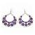 Large Teardrop Purple Enamel Floral Hoop Earrings In Silver Finish - 8cm Length - view 4