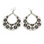 Large Teardrop Black/Grey Enamel Floral Hoop Earrings In Silver Finish - 8cm Length - view 6