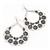 Large Teardrop Black/Grey Enamel Floral Hoop Earrings In Silver Finish - 8cm Length - view 2