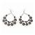 Large Teardrop Black/Grey Enamel Floral Hoop Earrings In Silver Finish - 8cm Length - view 4