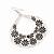 Large Teardrop Black/Grey Enamel Floral Hoop Earrings In Silver Finish - 8cm Length - view 3