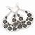 Large Teardrop Black/Grey Enamel Floral Hoop Earrings In Silver Finish - 8cm Length - view 5