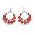 Large Teardrop Red Enamel Floral Hoop Earrings In Silver Finish - 8cm Length - view 5