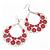 Large Teardrop Red Enamel Floral Hoop Earrings In Silver Finish - 8cm Length - view 6