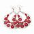 Large Teardrop Red Enamel Floral Hoop Earrings In Silver Finish - 8cm Length - view 3
