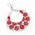 Large Teardrop Red Enamel Floral Hoop Earrings In Silver Finish - 8cm Length - view 2