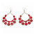 Large Teardrop Red Enamel Floral Hoop Earrings In Silver Finish - 8cm Length - view 4