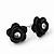 Small Black Enamel Diamante 'Rose' Stud Earrings In Silver Finish - 10mm Diameter - view 2