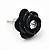 Small Black Enamel Diamante 'Rose' Stud Earrings In Silver Finish - 10mm Diameter - view 3