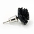 Small Black Enamel Diamante 'Rose' Stud Earrings In Silver Finish - 10mm Diameter - view 4