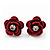 Small Red Enamel Diamante 'Rose' Stud Earrings In Silver Finish - 10mm Diameter
