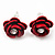 Small Red Enamel Diamante 'Rose' Stud Earrings In Silver Finish - 10mm Diameter - view 2