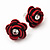 Small Red Enamel Diamante 'Rose' Stud Earrings In Silver Finish - 10mm Diameter - view 3