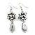 Metallic Silver Glass Beaded Drop Earrings In Silver Plating - 5.5cm Length