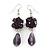 Purple Glass Beaded Drop Earrings In Silver Plating - 5.5cm Length