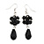 Jet Black Glass Beaded Drop Earrings In Silver Plating - 5.5cm Length
