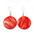 Brick Red Shell 'Coin' Drop Earrings In Silver Finish - 4cm Length