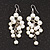 White Faux Pearl Cluster Drop Earrings In Silver Finish - 7cm Length