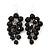 Black Bead Cluster Drop Earrings In Silver Finish - 7cm Length