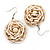 Antique White Glass Bead Dimensional 'Rose' Drop Earrings In Silver Finish - 4.5cm Drop