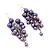 Purple Faux Pearl Cluster Drop Earrings In Silver Finish - 7cm Length - view 2