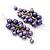 Purple Faux Pearl Cluster Drop Earrings In Silver Finish - 7cm Length - view 3