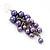 Purple Faux Pearl Cluster Drop Earrings In Silver Finish - 7cm Length - view 4