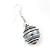 Silver Tone Grey Faux Pearl Drop Earrings - 4cm Drop - view 2