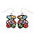Funky Multicoloured Enamel 'Bear' Drop Earrings In Silver Tone Metal - 3.5cm Length